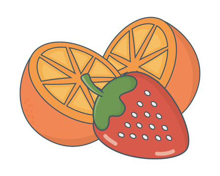 delicious tasty healthy fresh fruits cartoon vector illustration graphic design
