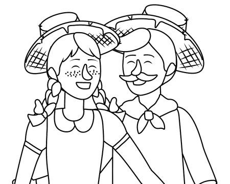 festa junina brazil party couple wearing traditional clothes cartoon vector illustration graphic design