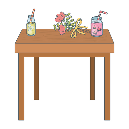 floral nature flowers over wooden table with tropicals juices glasses cartoon vector illustration graphic design