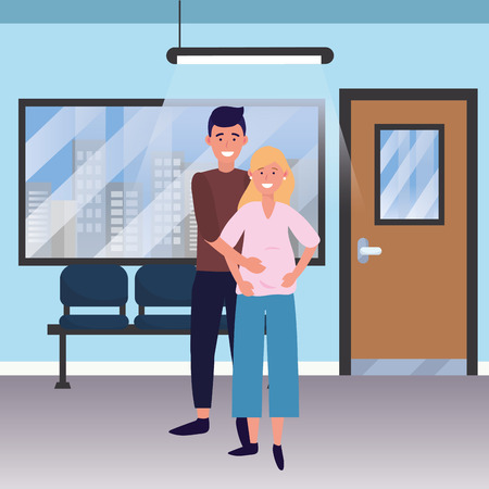 pregnant happy family couple at medical hospital room cartoon vector illustration graphic design 일러스트