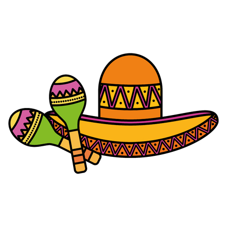 mexican hat with maracas vector illustration design Foto de archivo - 123045732