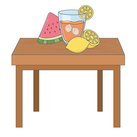 delicious healthy meal juice with fruits mix over wooden table cartoon vector illustration graphic design Stock Illustratie