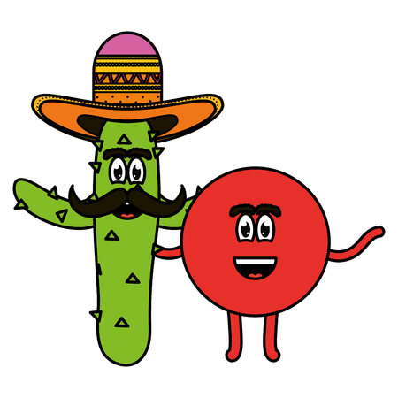 mexican emoji with cactus character vector illustration design