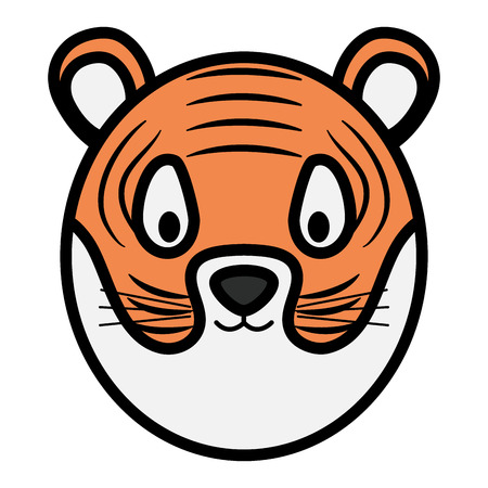 cute tiger head childish character vector illustration design Illustration