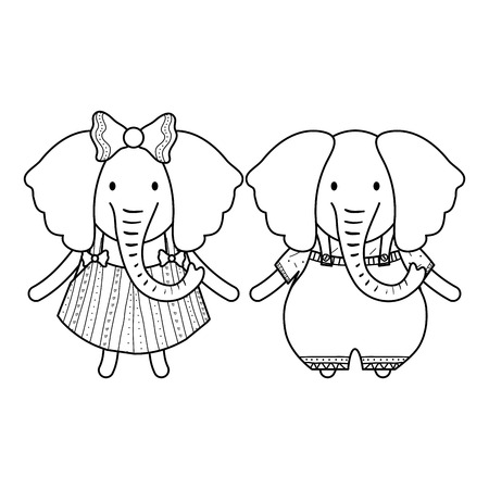 cute elephants couple childish characters vector illustration design