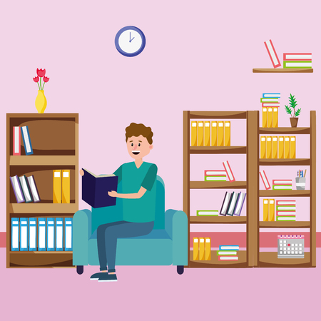 young man relax reading book over couch cartoon vector illustration graphic design Иллюстрация