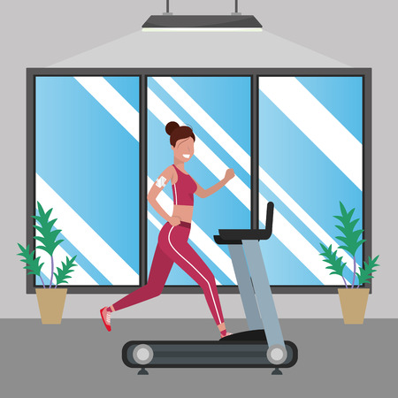 fitness exercise woman running over treadmill workout healthy fit lifestyle gym scene cartoon vector illustration graphic design Illustration
