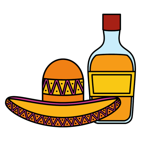 mexican hat with tequila bottle vector illustration design