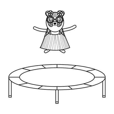 cute female tiger in slastic trampoline vector illustration design Illustration
