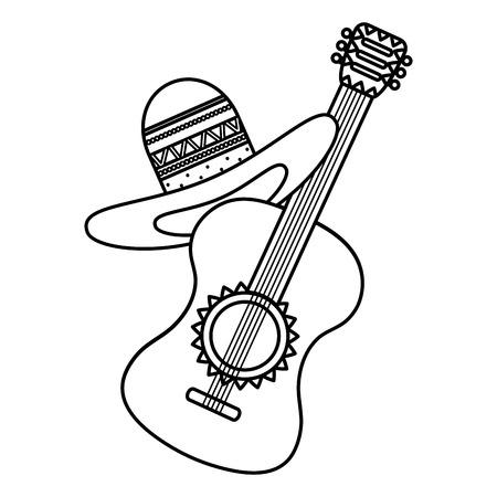 guitar with mexican hat vector illustration design Ilustración de vector