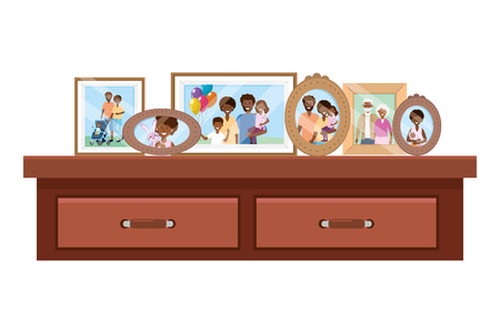 desk with photo frames icon cartoon isolated vector illustration graphic design