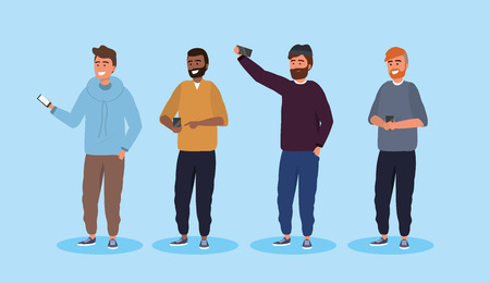 set men friends with hairstyle and smartphone technology vector illustration Stock Illustratie