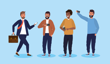 set men with smartphone technology and hairstyle vector illustration Stock Illustratie