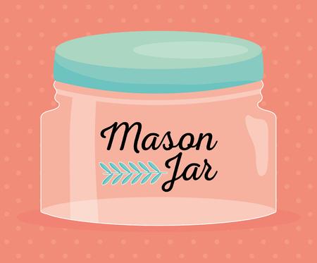 mason jar glass with lid vector illustration design