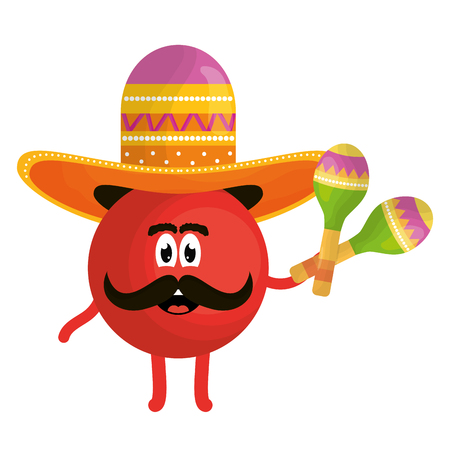 mexican emoji with hat and maracas character vector illustration design  イラスト・ベクター素材
