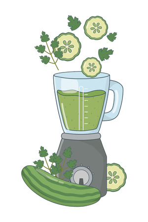 delicious healthy fruits mix smoothie inside blender cartoon vector illustration graphic design