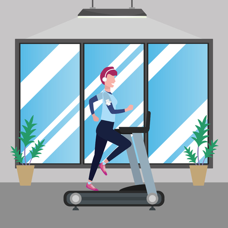 fitness exercise woman running over treadmill workout healthy fit lifestyle gym scene cartoon vector illustration graphic design Ilustração