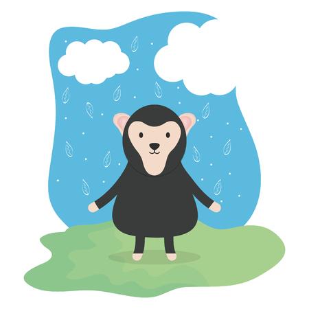 cute monkey adorable character vector illustration design