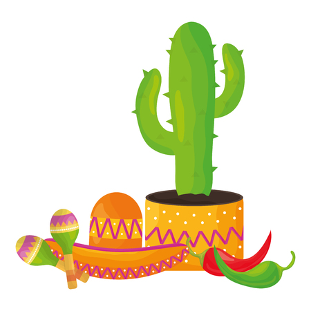 cactus plant with mexican hat and maracas vector illustration design
