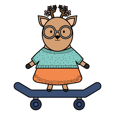 cute female reindeer with skateboard vector illustration design