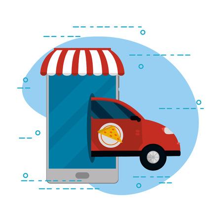 Food order delivery online from smartphone pizza car vector illustration graphic design 向量圖像