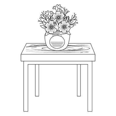 floral nature flowers mason jar plant pot over wooden table cartoon vector illustration graphic design Stock Illustratie