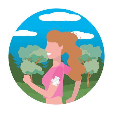 woman running portrait with sportwear avatar cartoon character rural landscape round icon vector illustration graphic design Çizim