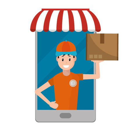 delivery guy carrying boxes going out cellphone vector illustration graphic design Stock Illustratie