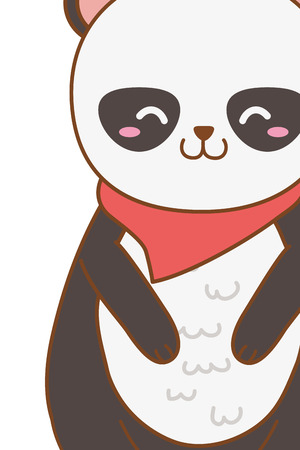 cute little animal panda bear wearing scarf cartoon vector illustration graphic design