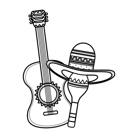 maraca with mexican hat and guitar vector illustration design Illustration