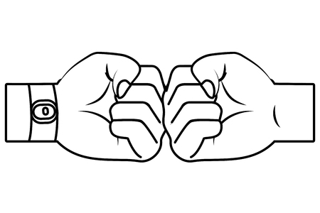 hands bumping fists cartoon vector illustration graphic design