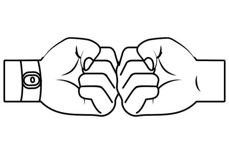 hands bumping fists cartoon vector illustration graphic design