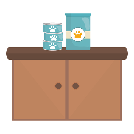 pet shop wooden drawer with food products vector illustration design Ilustrace