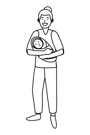 man carrying baby avatar cartoon character black and white vector illustration graphic design Ilustrace