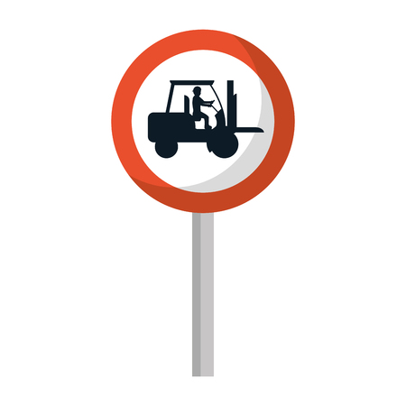 circle caution emblem and laborer with forklift vector illustration