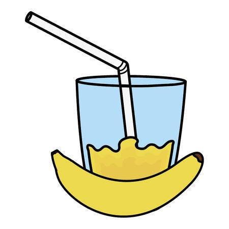 glass with juice of banana vector illustration design Ilustração