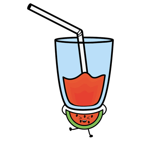 glass with juice watermelon fresh fruit kawaii character vector illustration design