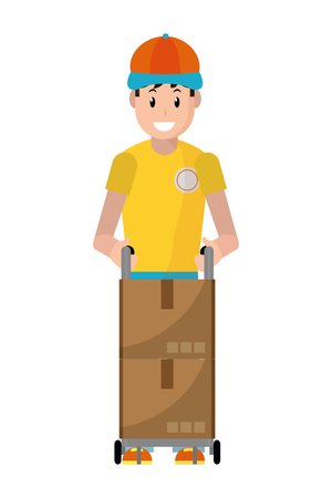 delivery guy with box and pushcart vector illustration graphic design