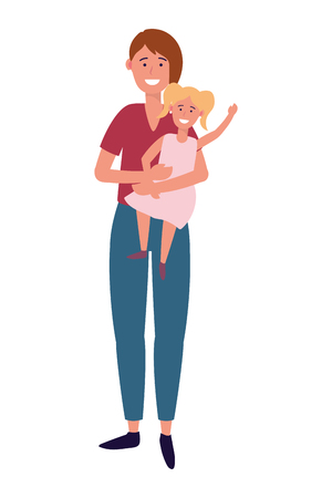 woman with child avatar cartoon character vector illustration graphic design