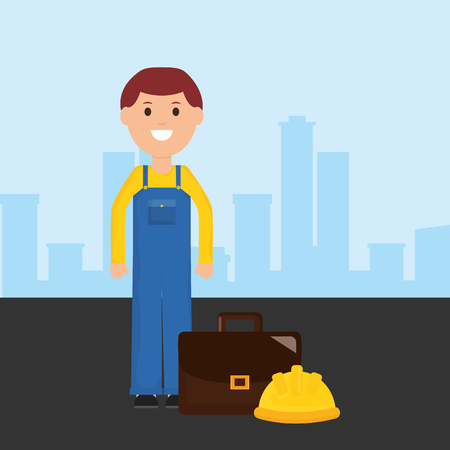 builder worker avatar character vector illustration design