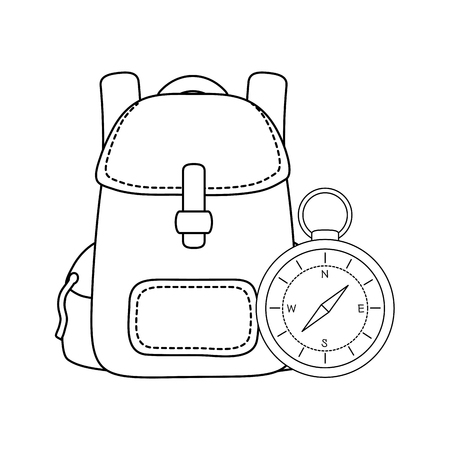compass guide with travel bag vector illustration design