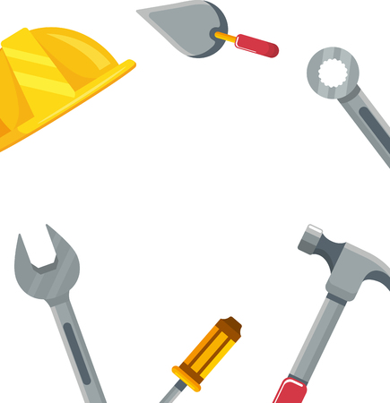 construction architectural tools cartoon vector illustration graphic design Vectores