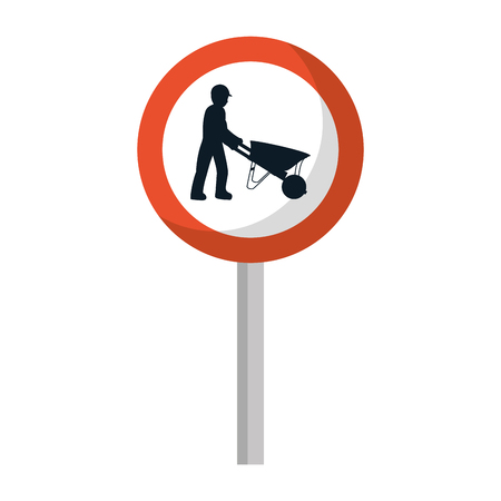 circle caution emblem and laborer with wheelbarrow vector illustration Ilustração