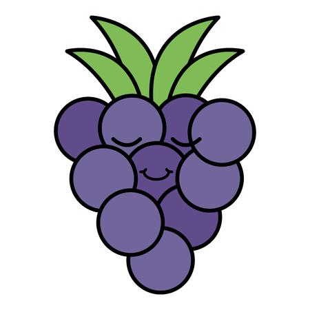 delicious grapes fruit kawaii character vector illustration design