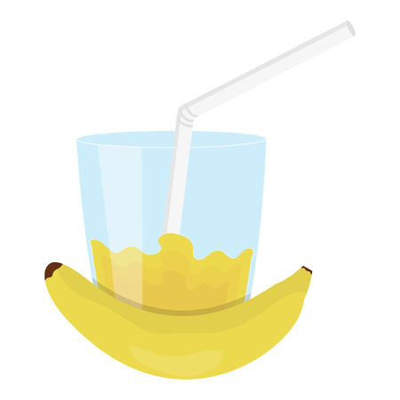 glass with juice of banana vector illustration design Ilustrace