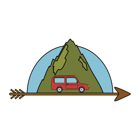 mountains landscape scene with arrow and car vector illustration design
