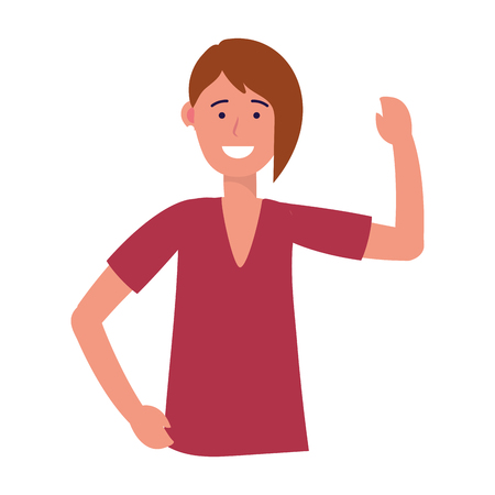 woman portrait avatar cartoon character short hair vector illustration graphic design Illustration