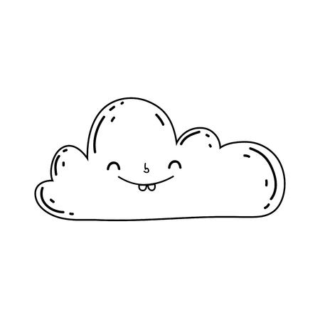 cute cloud kawaii character vector illustration design