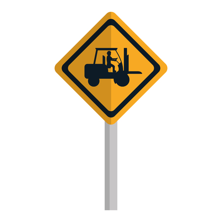 diamond caution emblem and laborer with forklift vector illustration
