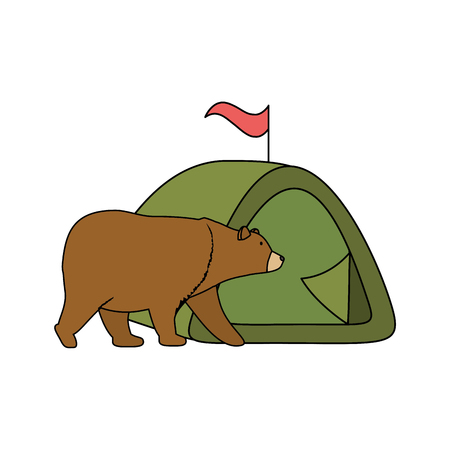 wild bear grizzly with camping tent vector illustration design